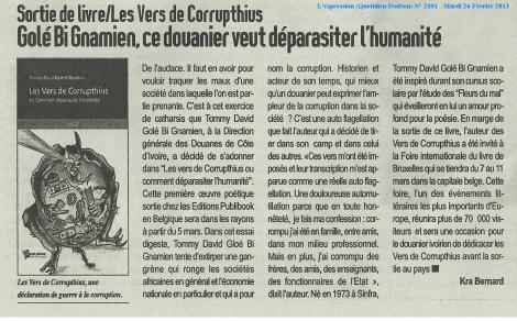 Crónica de la aprición del libro en la edición del 26 de febrero de 2013 del diario marfileño L'Expression. Fuente: Editorial Publibook