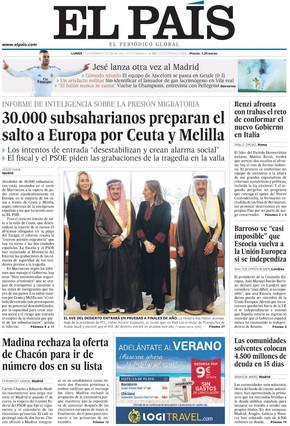 Portada de El País del 17 de febrero de 2014.